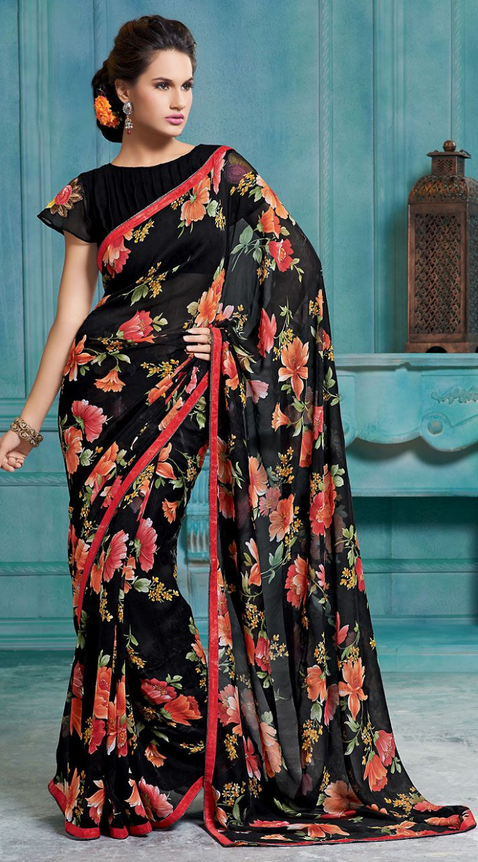 Black Chiffon Light Red Floral Printed Border Saree With