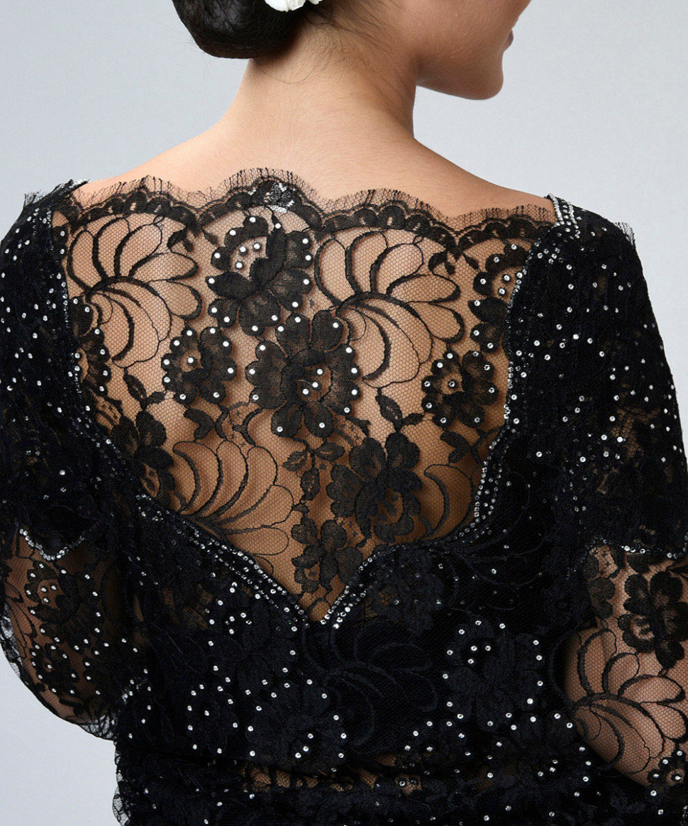 Black French Chantilly Lace Saree With Pearl Beaded Blouse