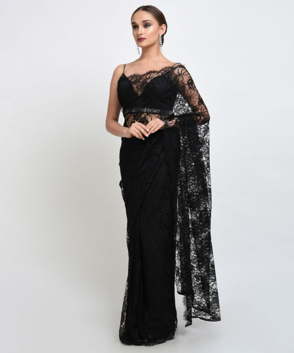 Black French Chantilly Lace Saree With Satin Crepe