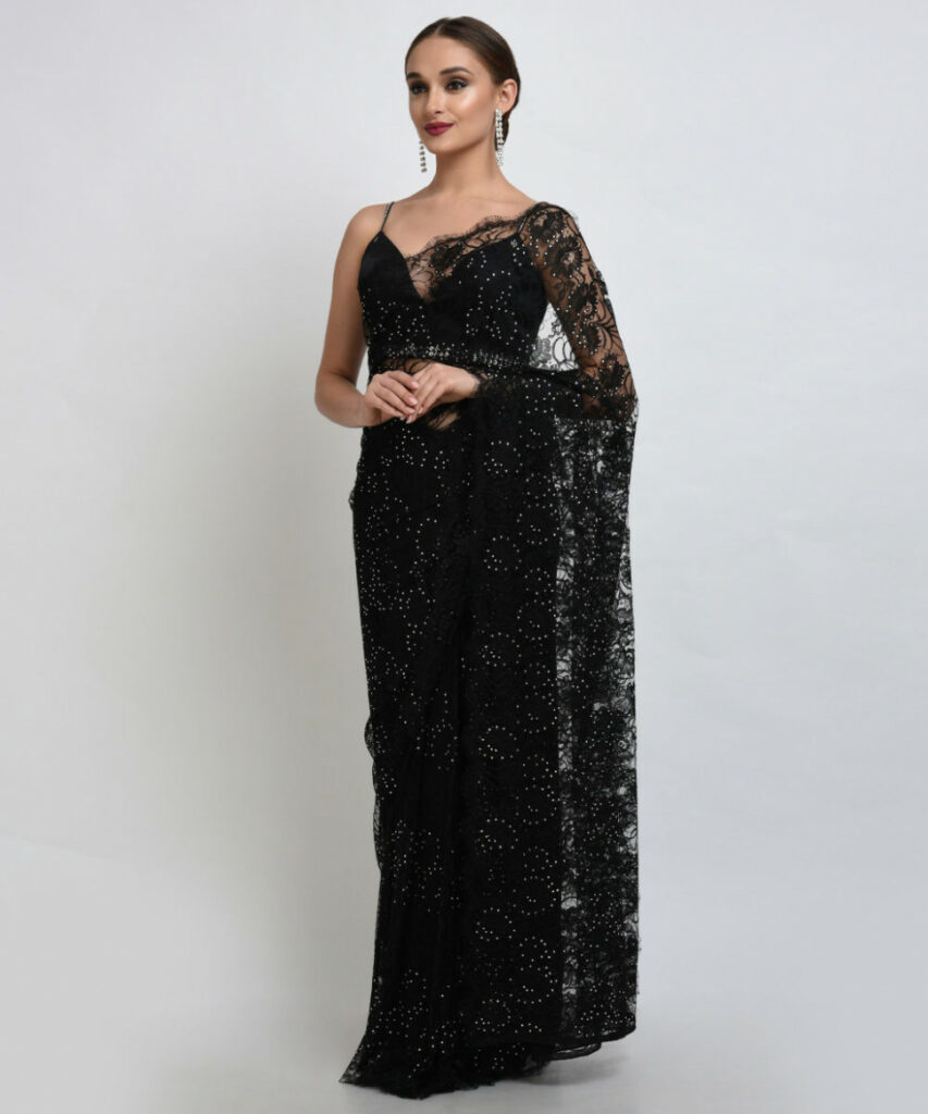 Black French Chantilly Lace Swarovski Crystal Saree and Blouse