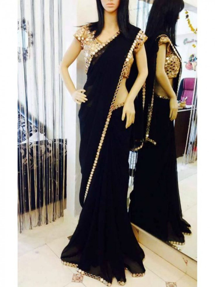 Black Georgette Saree with Real mirror work and Real