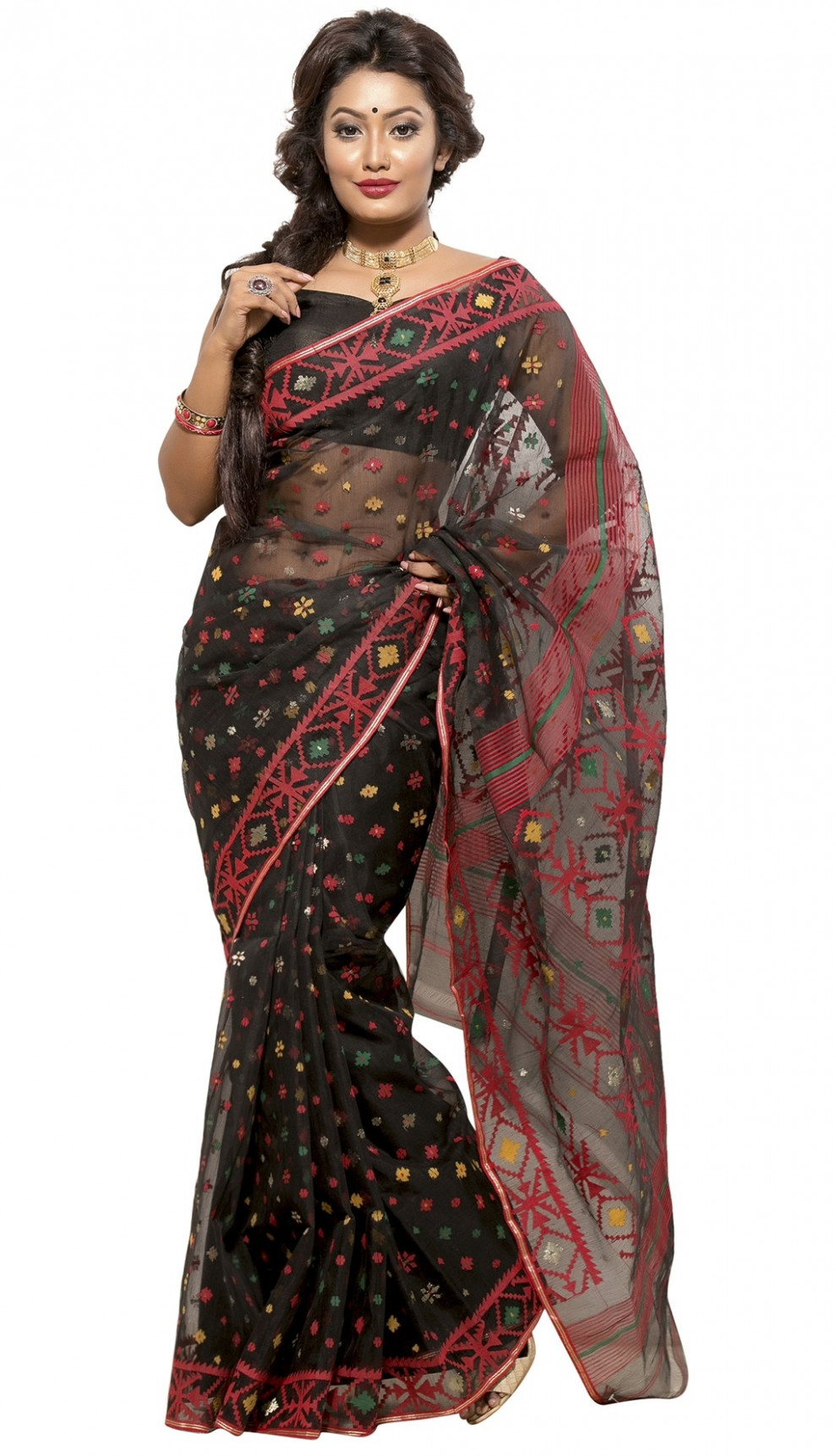 Black Half Silk Jamdani Saree