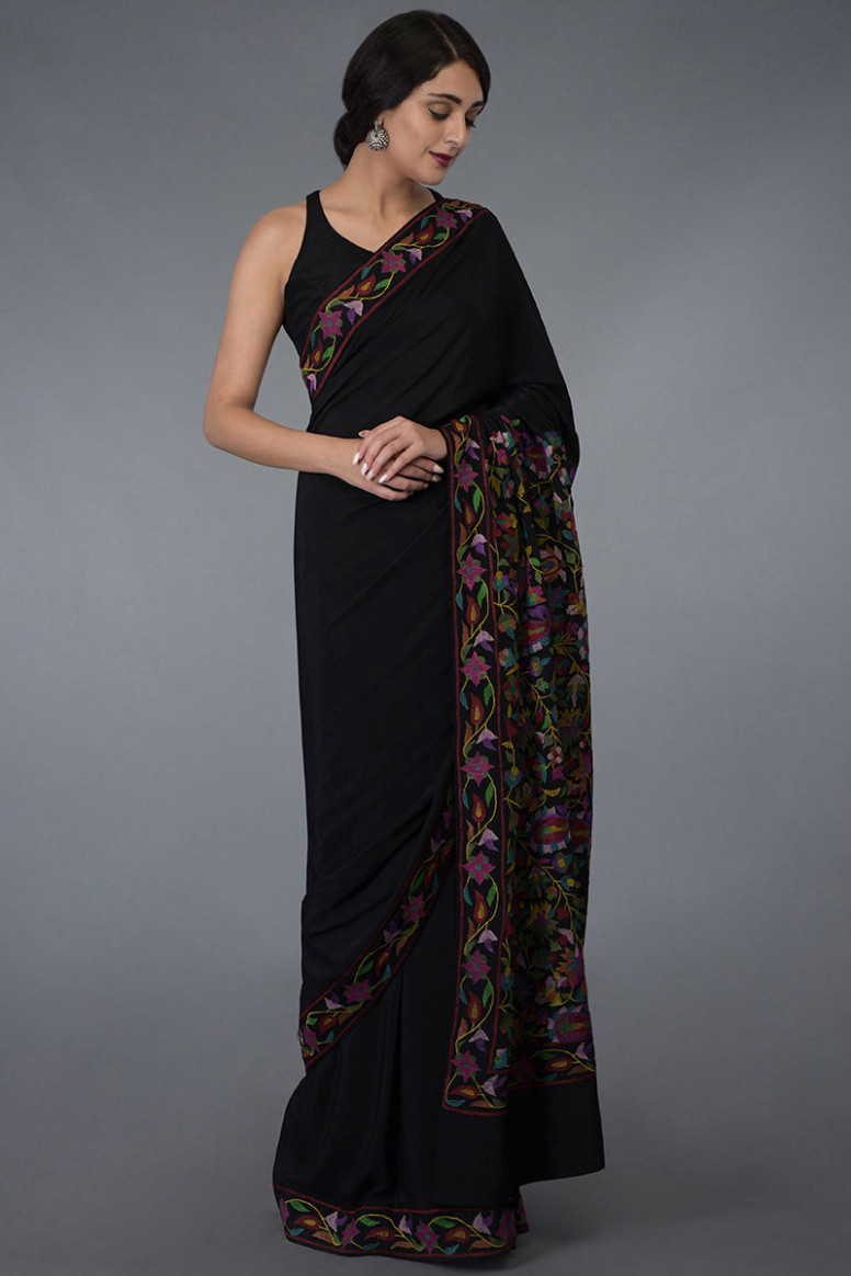 Black Kashmir Kani Art Embroidered Pure Crepe Silk Saree