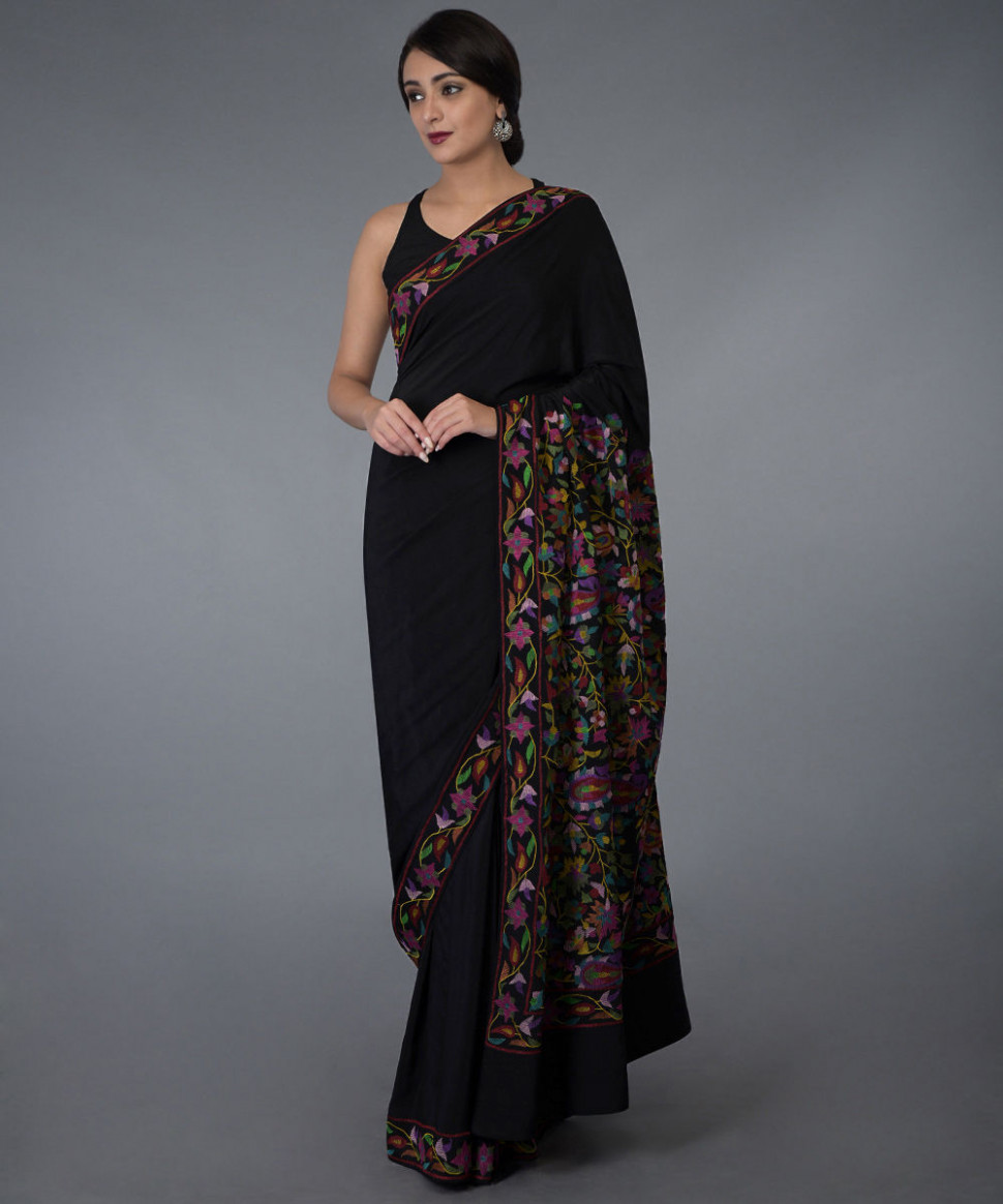 Black Kashmir Kani Art Embroidered Pure Crepe Silk Saree - kani saree