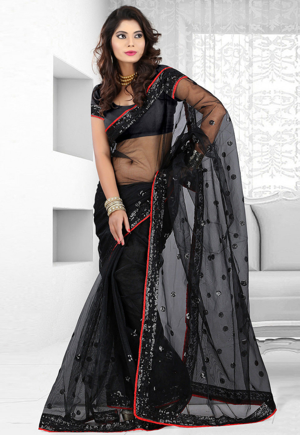 Black Net Shimmer Saree with Blouse : SFS176