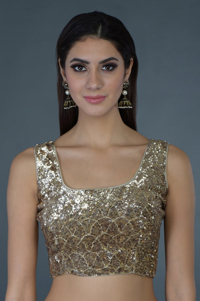 Black Sequin Hand Embroidered Saree & Blouse - sequin saree blouse