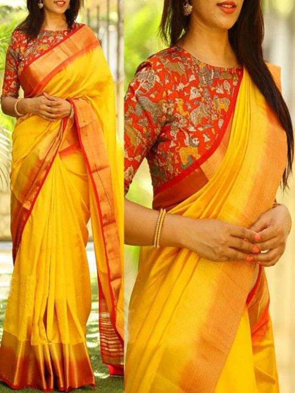 Blooming Yellow Color Soft Silk Saree - cnd765