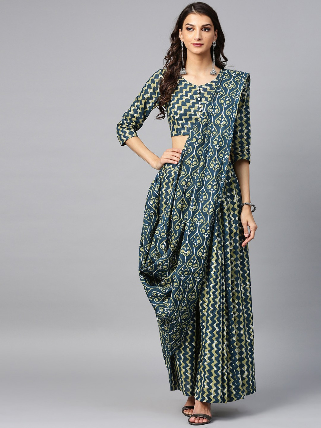 Blue & Green Printed Palazzo Saree With Blouse