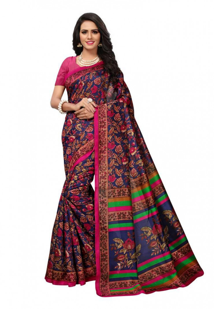 Blue and Pink printed Kashmiri Silk saree with blouse