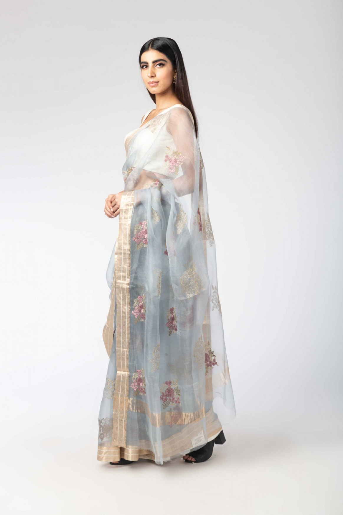 Blue Floral Boota Organza Sari With Unstitched Blouse