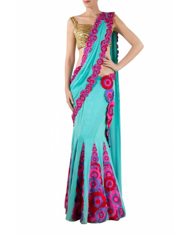 Blue georgette skirt saree with floral panels, embrodered