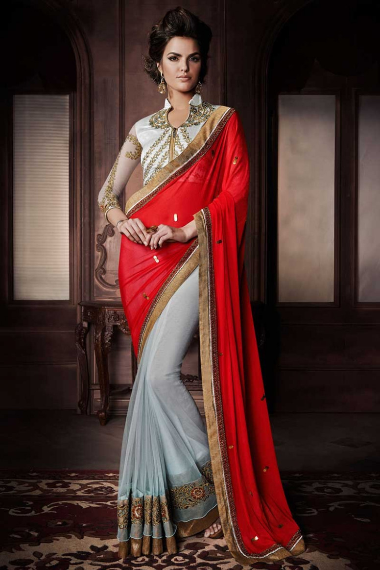 Blue Red Georgette Net Saree with Silk Blouse, Sari with
