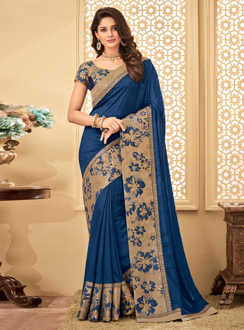 Blue Silk Engagement Wear Saree 115785