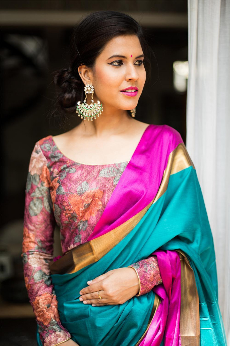 Boat Neck Blouse Designs For Cotton Sarees
