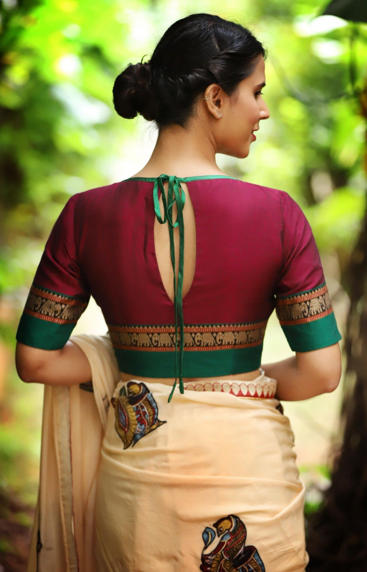 Boat neck blouse  Trendy blouse designs, Saree blouse