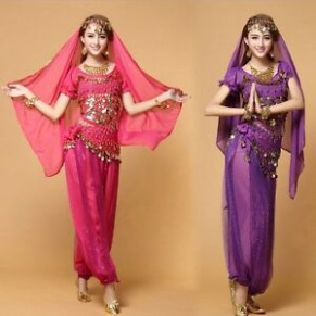 Bollywood Indian Belly Dance Costume set Top+Pants+Belt