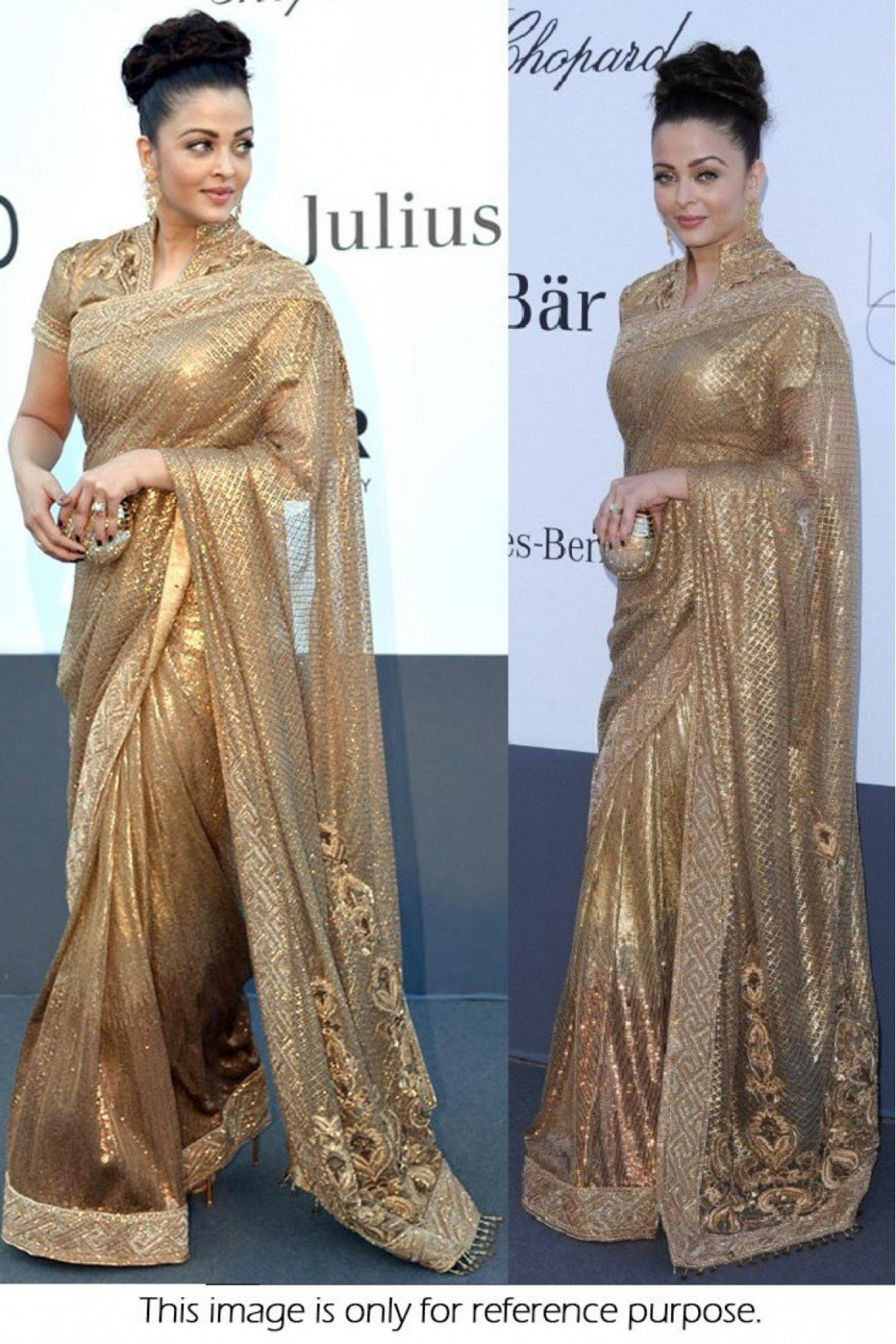 Bollywood Style Aishwarya Rai 60 Gms Chiffon Saree In Gold
