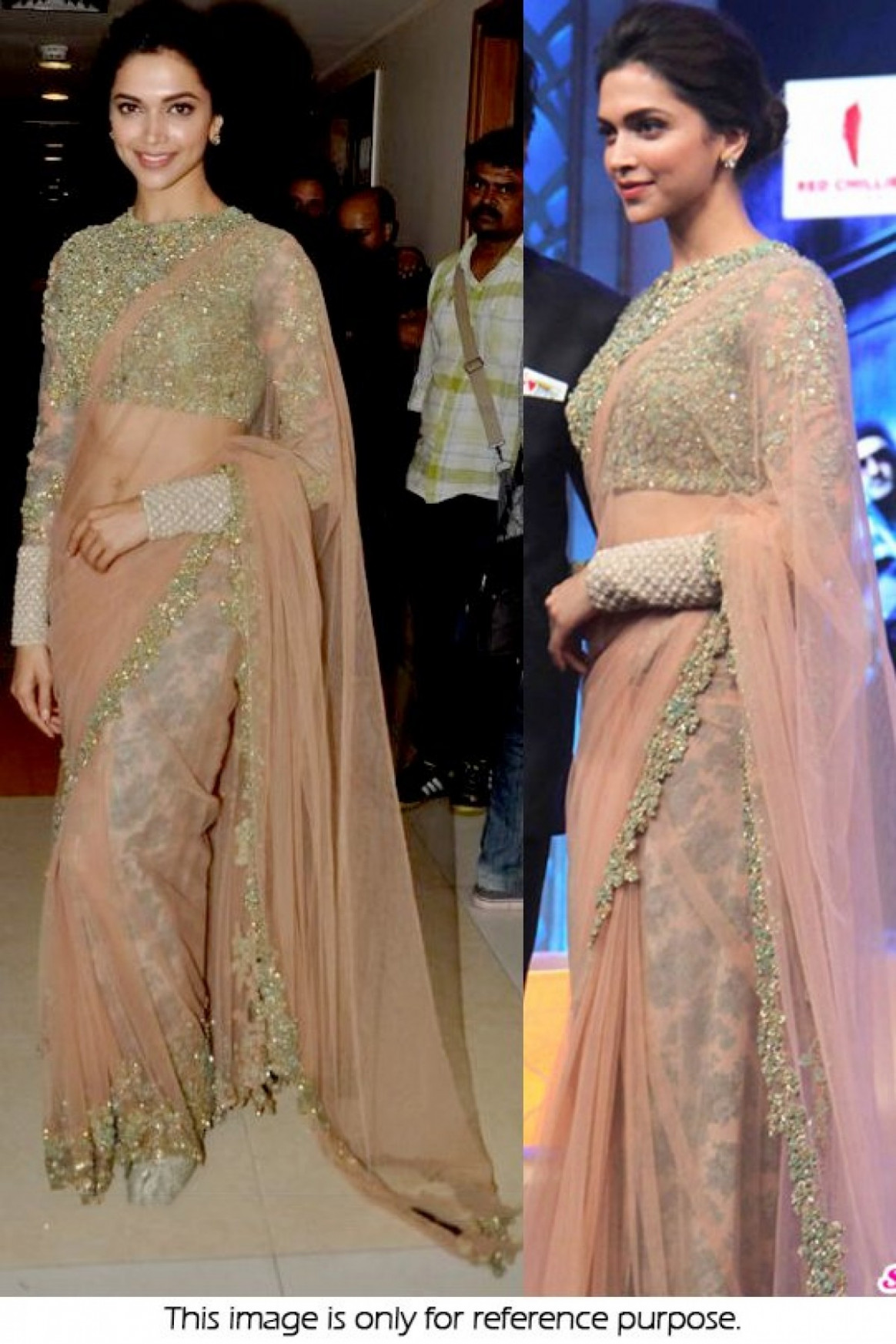 Bollywood Style Deepika Padukone Net Saree In Peach Colour