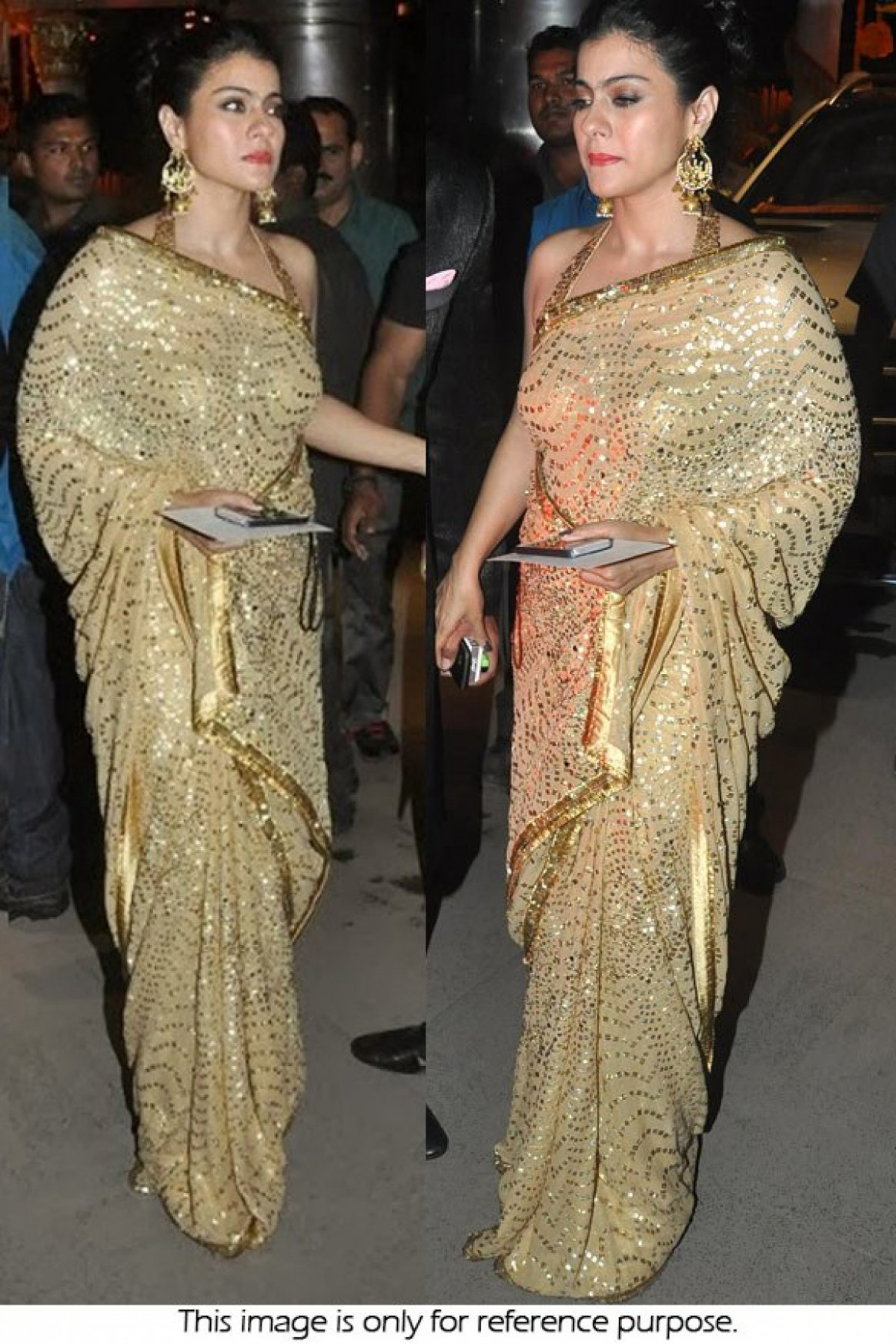 Bollywood Style Kajol Georgette Saree In Yellow Gold