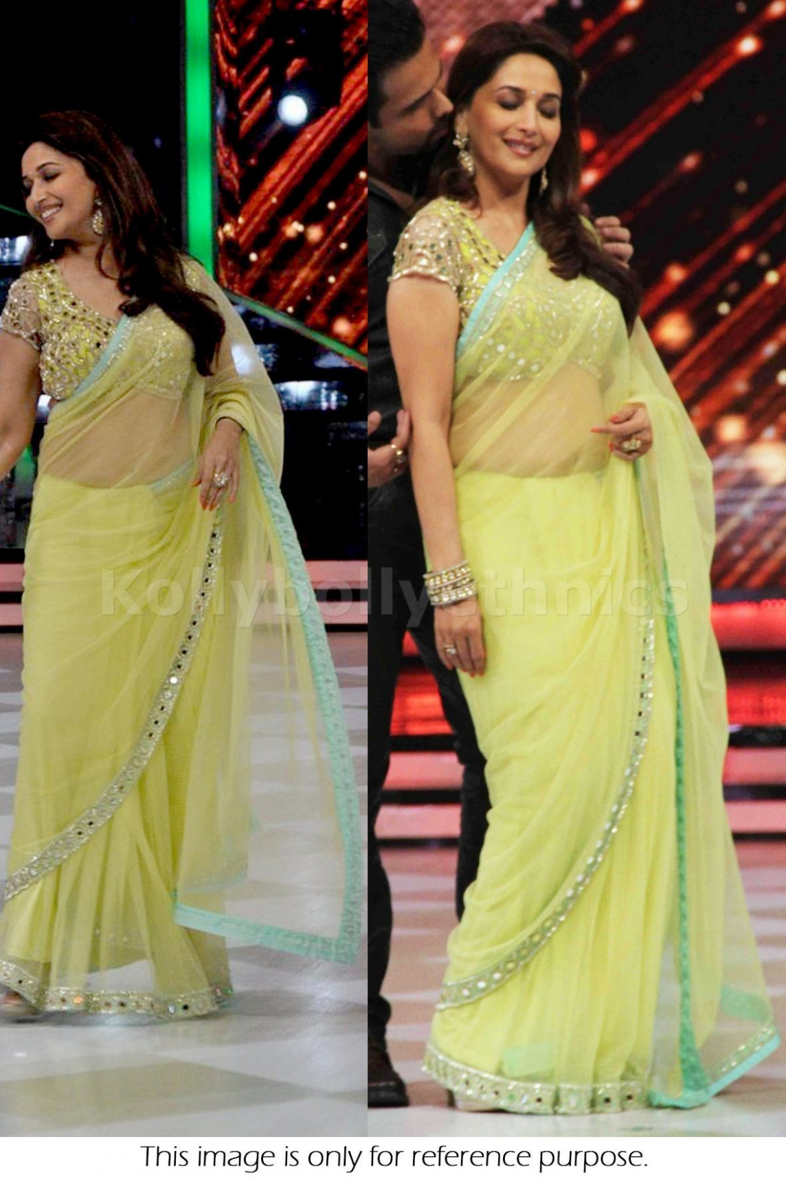 Bollywood Style Madhuri Dixit Saree in Light Yellow color