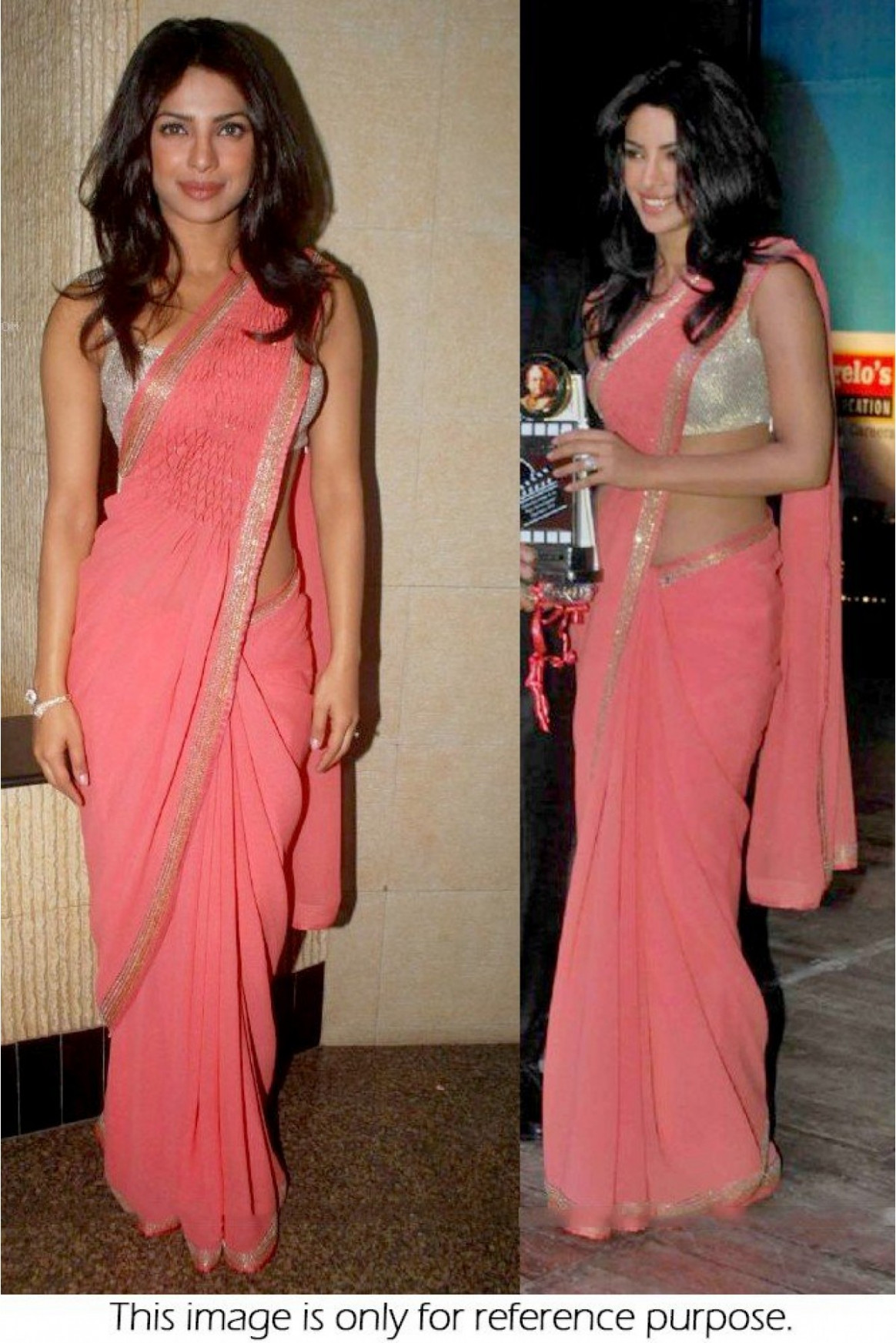 Bollywood Style Priyanka Chopra Georgette Saree In Baby
