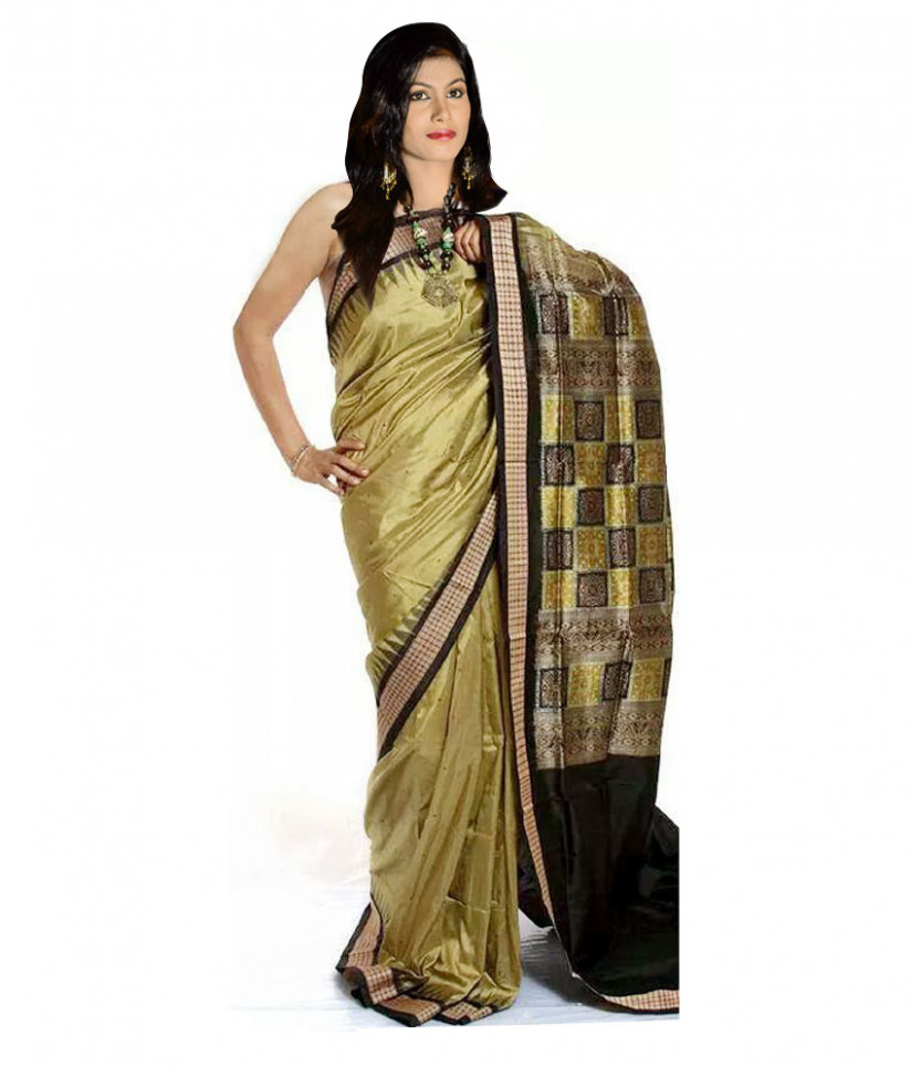 Bomkai Sambalpuri Green Colored Pure Silk Saree