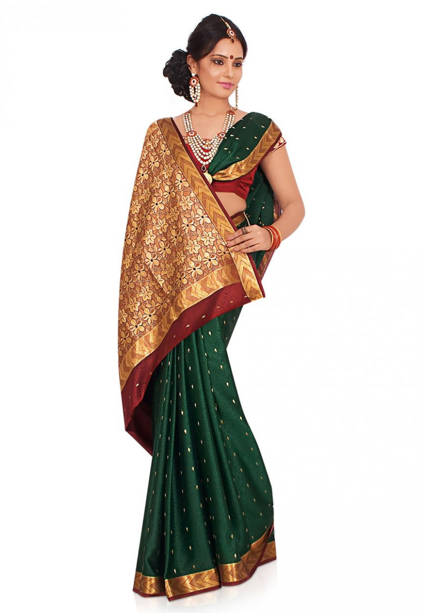 Bottle Green Pure Mysore Silk Saree with Blouse Online