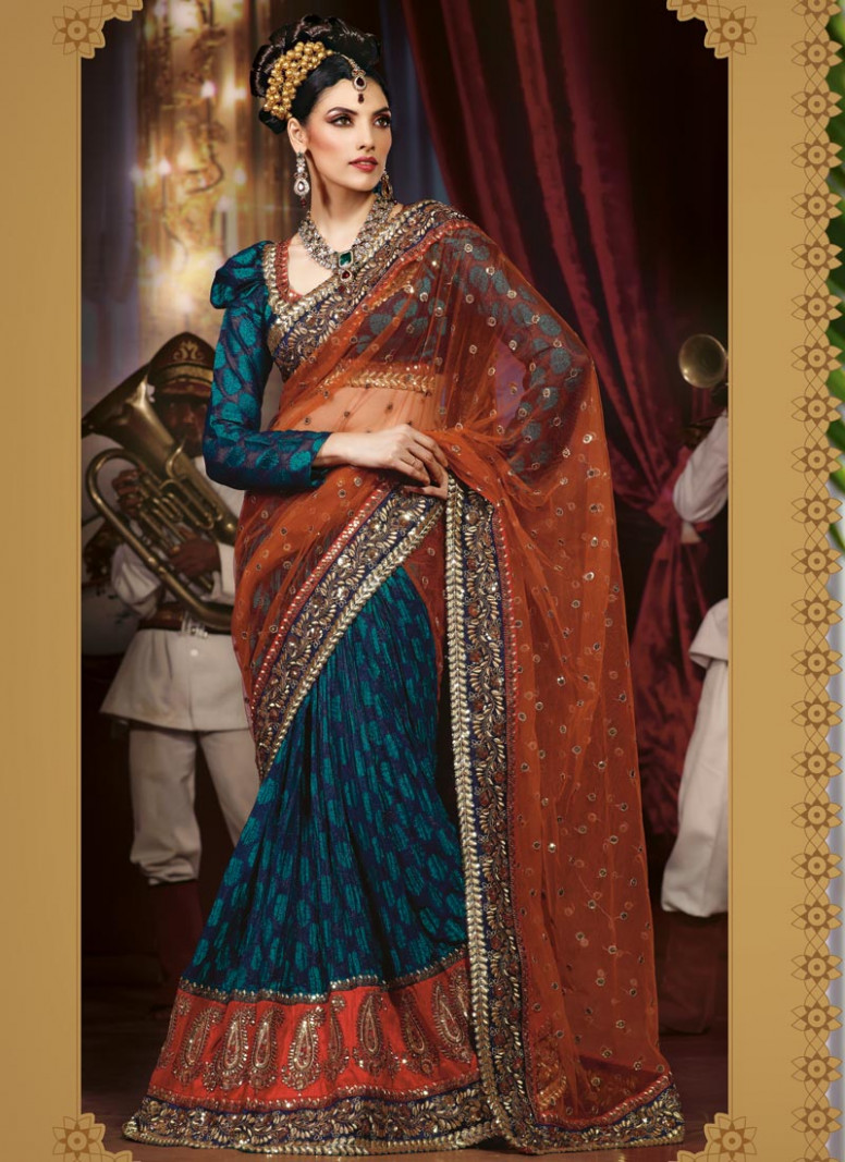 bridal lehenga style saree  Fashion