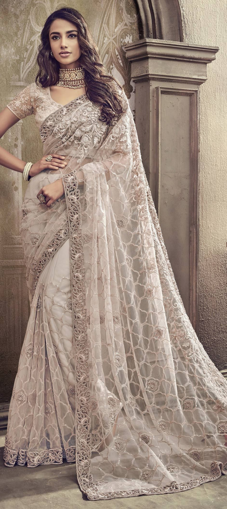 Bridal, Wedding White and Off White color Net fabric Saree