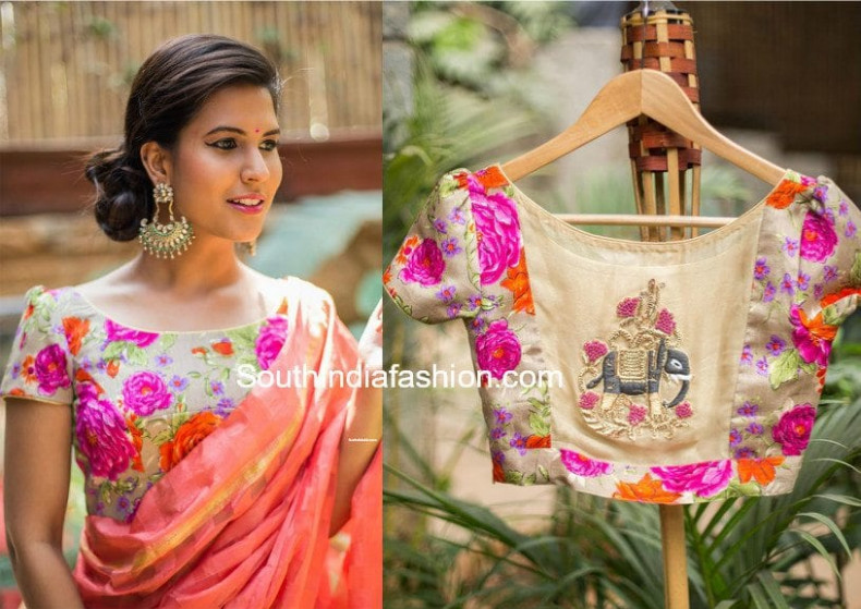 Bring Out Your Floral Blouses This Season –South India Fashion