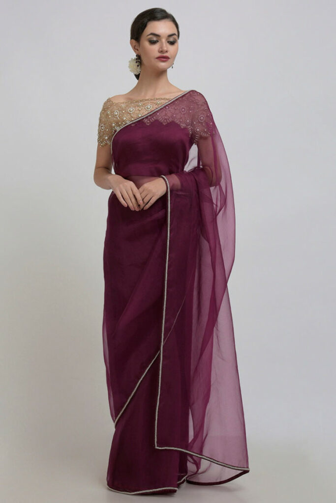 Burgundy Pearl Beads Hand Embroidered Saree & Blouse