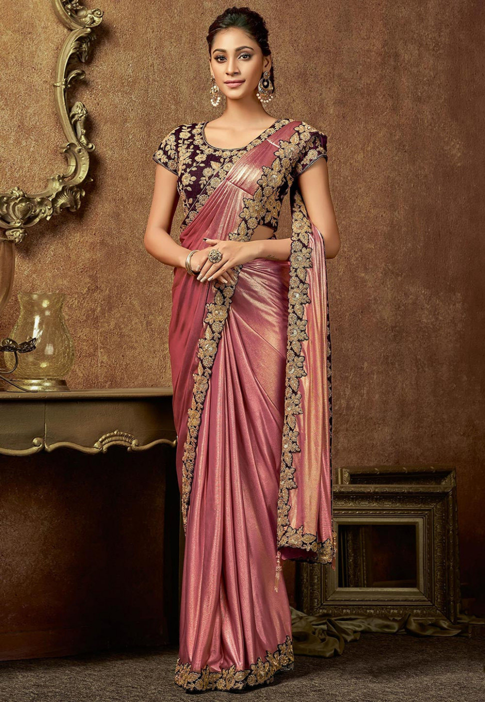 Butterfly Pallu Lycra Shimmer Saree in Pink : SWS5887