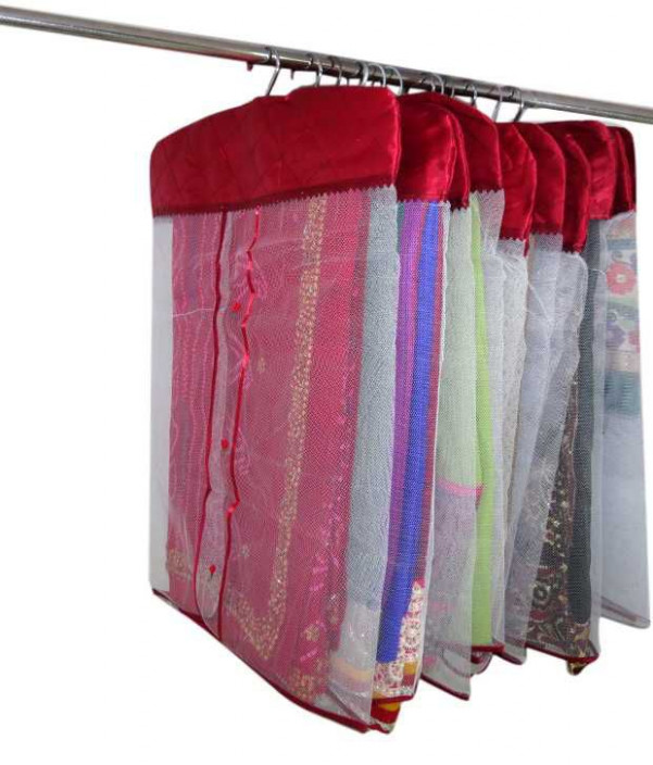 Buy A-Maze Red Satin Hanging Saree Cover - Set of 12 Pcs