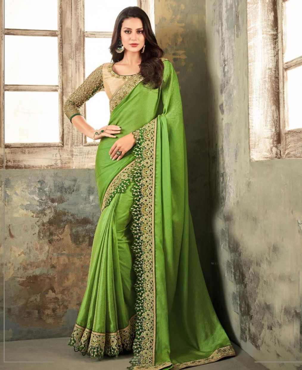 Buy Alluring Green Designer Saree [153512] at £30.54