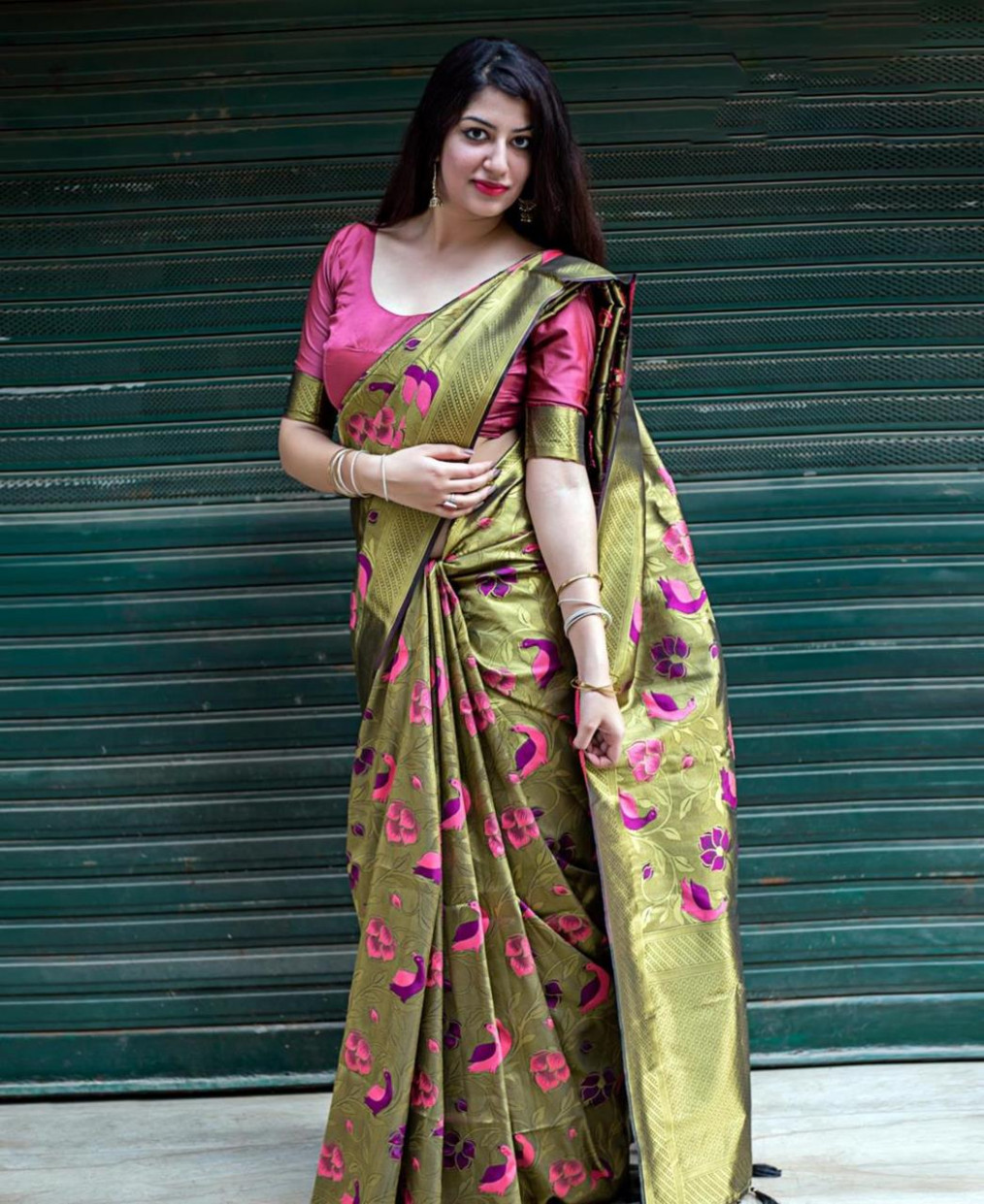 Buy Alluring Green Silk Saree [165702] at 310.45 د.إ.‏