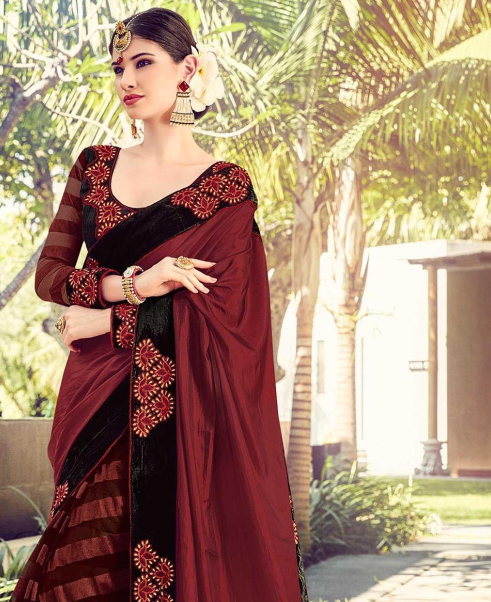 Buy Alluring Maroon Designer Saree [99968] at £32.60