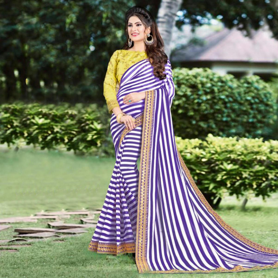 Buy Alluring Purple Partywear Striped Print With