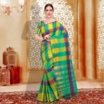 Buy Amazing Green - Yellow Checked Casual Wear Cotton Silk
