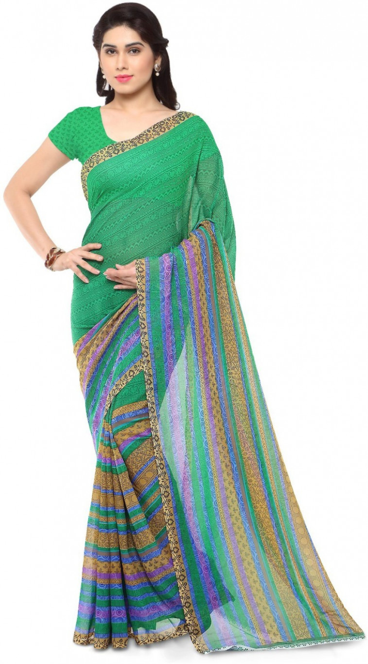 Buy Anand Sarees Printed Daily Wear Georgette Green Sarees