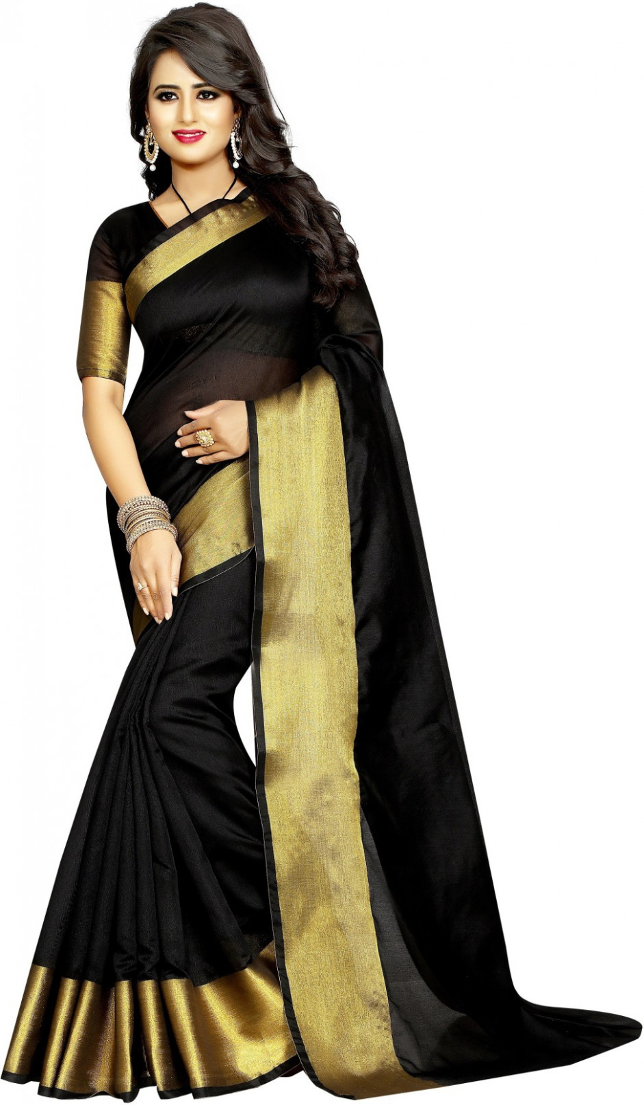 Buy Anugrah Plain Bollywood Cotton Black Sarees Online