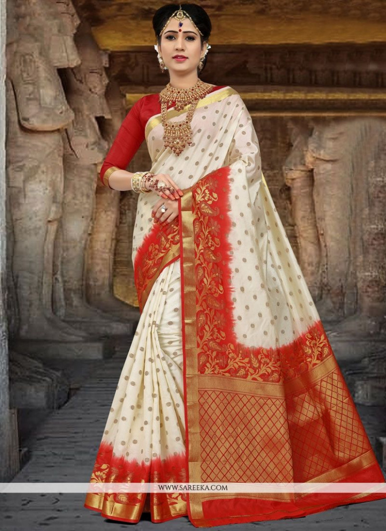 Buy Art Silk Red and White Weaving Work Traditional Saree