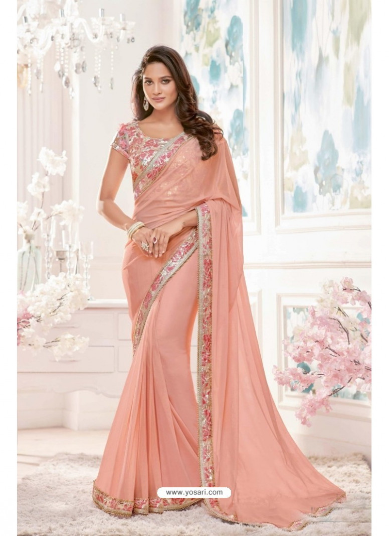 Buy Awesome Peach Lycra Saree  Designer Sarees