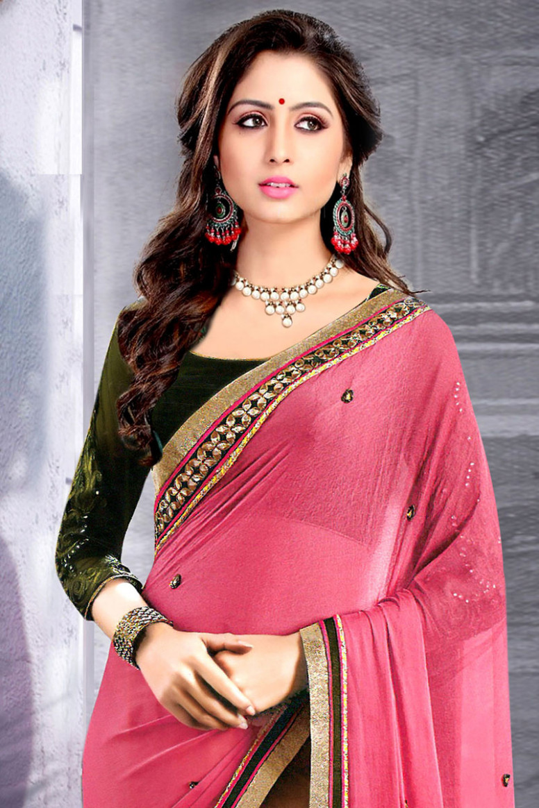 Buy Baby Pink Chiffon Saree With Raw Silk Blouse Online