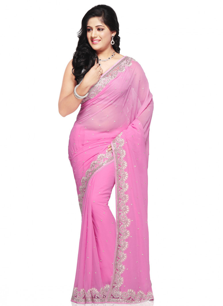 Buy Baby Pink Embellished Net Saree, Stones , Crystals
