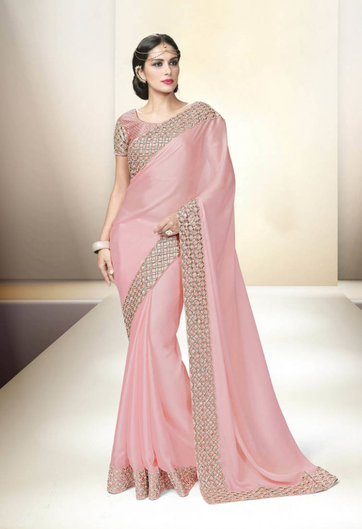 Buy Baby pink embroidered satin saree with blouse Online