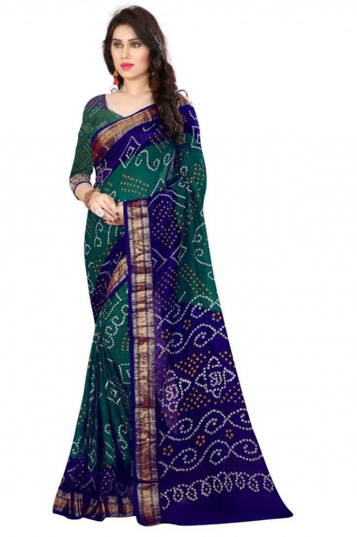 Buy Bandhani Saree (Green hand woven Bandhani saree With