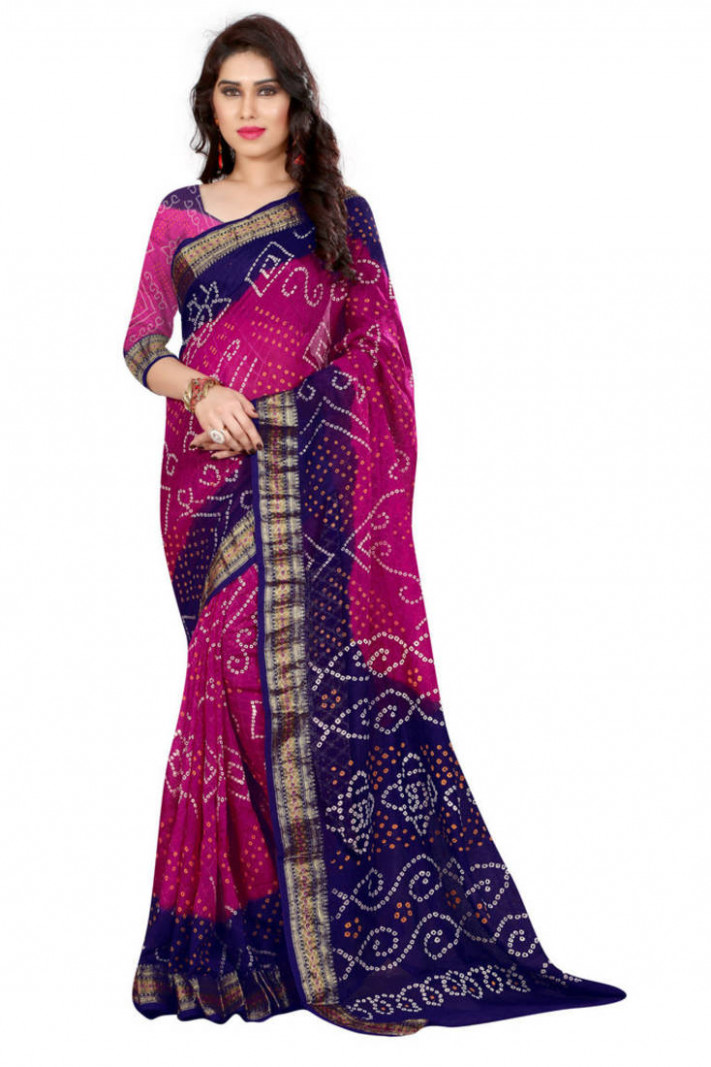 Buy Bandhani Saree (Pink hand woven Bandhani saree With
