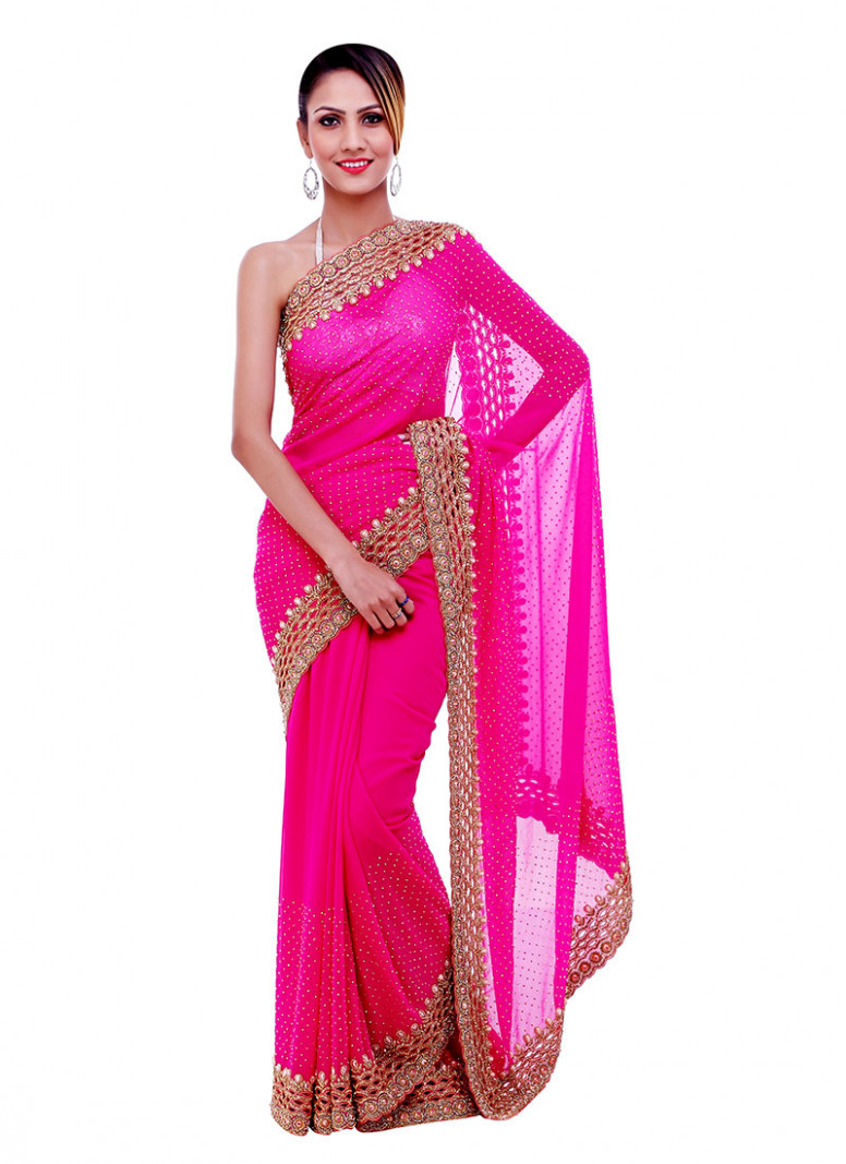 Buy Beads N Cut Work Fuchsia Pink Saree, Beads , Cut Work