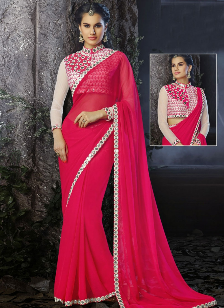 Buy Beautiful Mirror Work Chiffon Party Wear Saree Online
