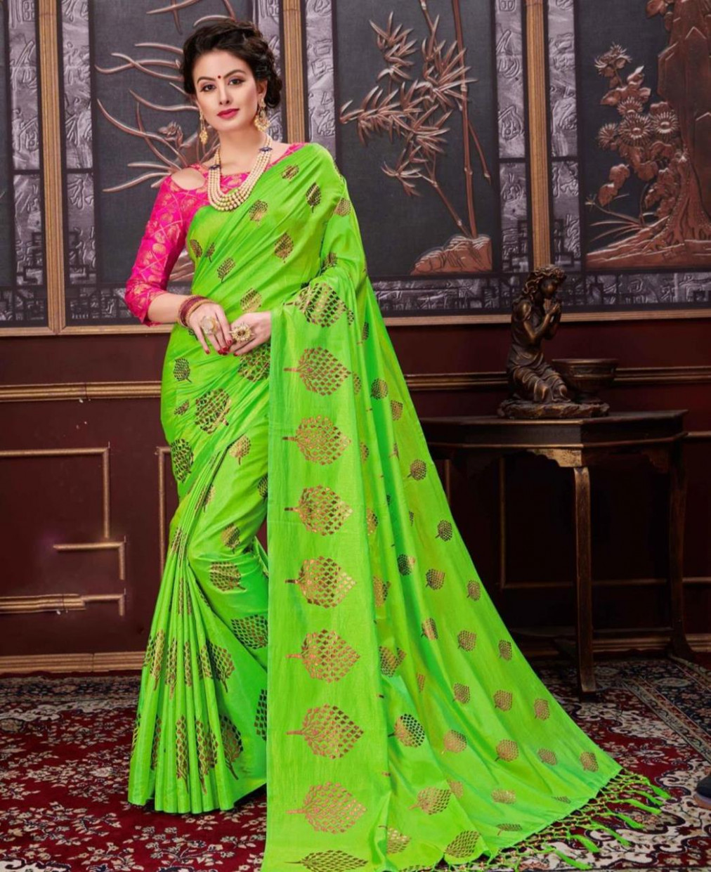 Buy Beautiful Parrot Green Casual Saree [146180] at 33.44